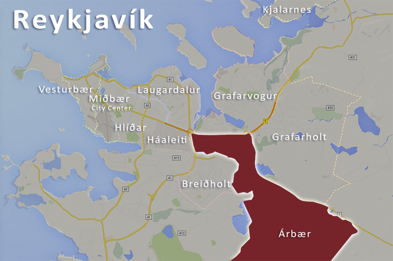 Reykjavík Iceland map of Árbær district