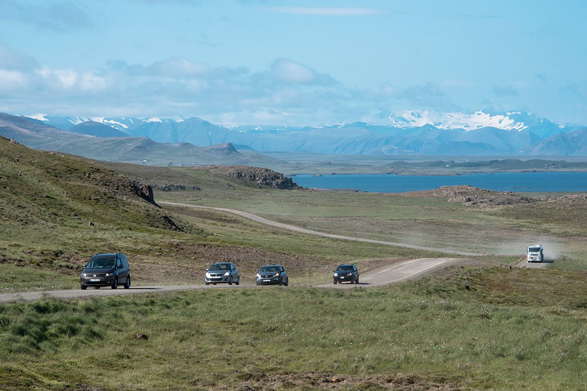 Driving in Iceland on gravel roads in spring