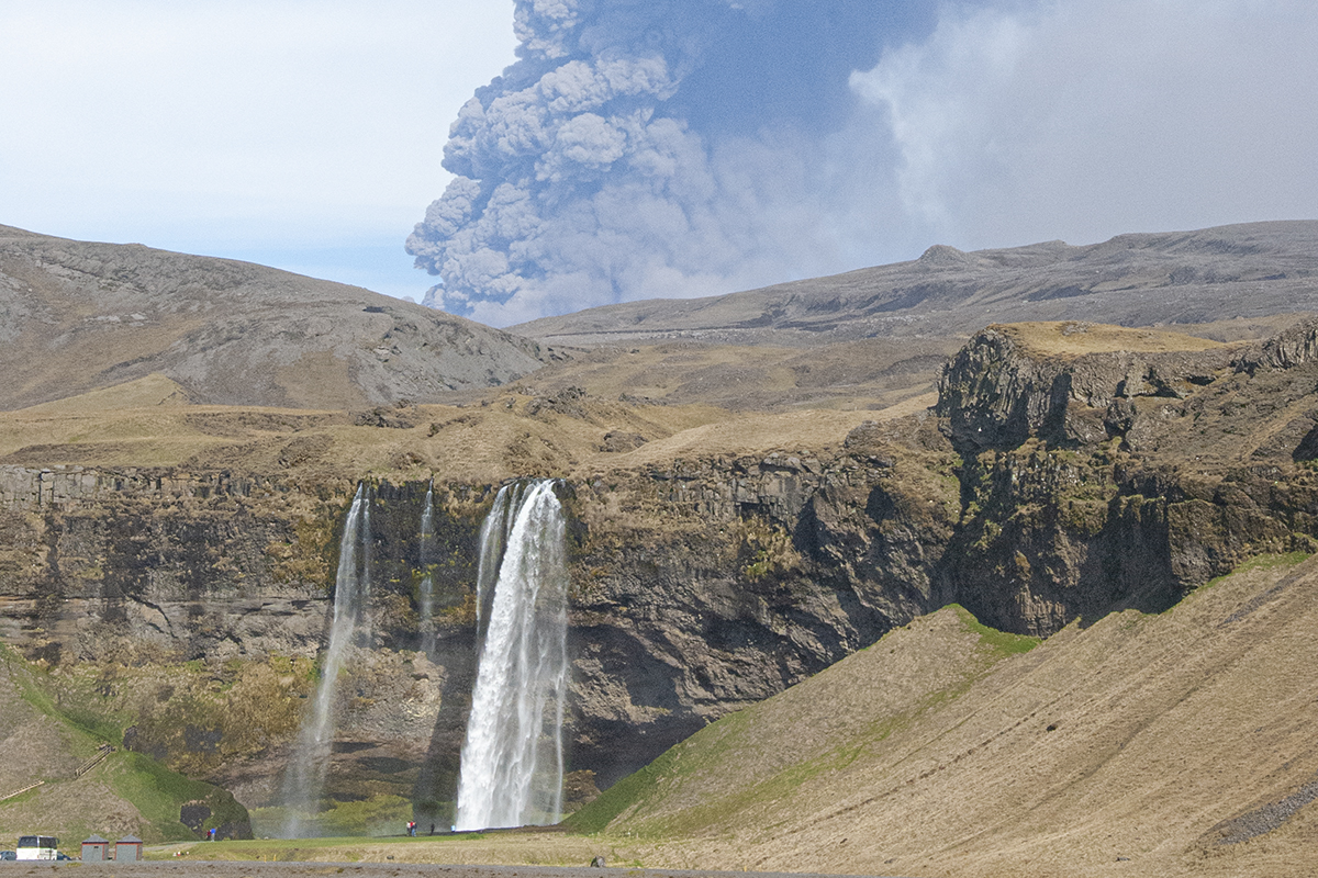 Seljalandsfoss waterfall during the Eyjafjallajökull volcano eruption in 2010