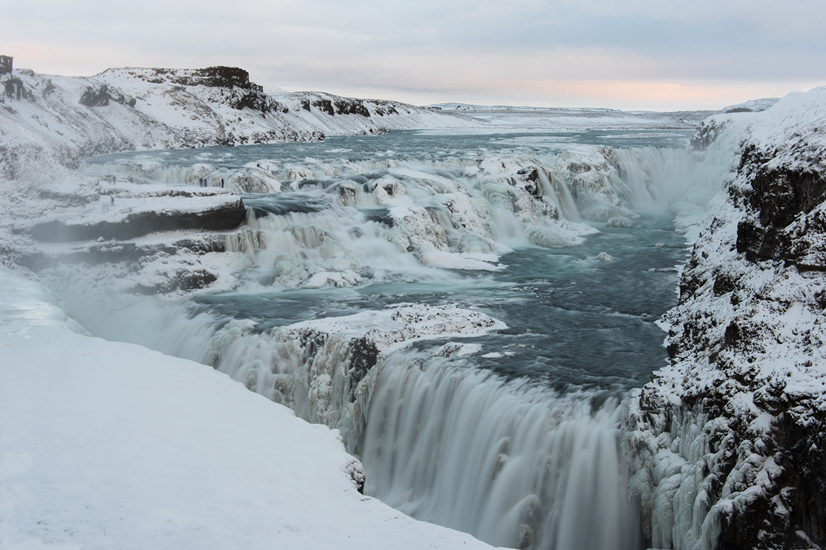 Frozen waterfalls like Gullfoss is a fascinating sight during winter