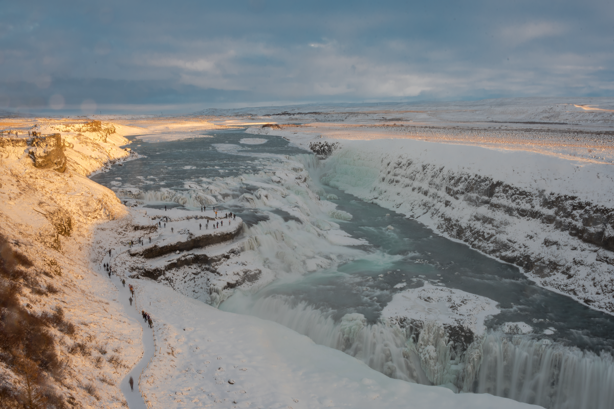 Gullfoss waterfall sometimes overcrowded