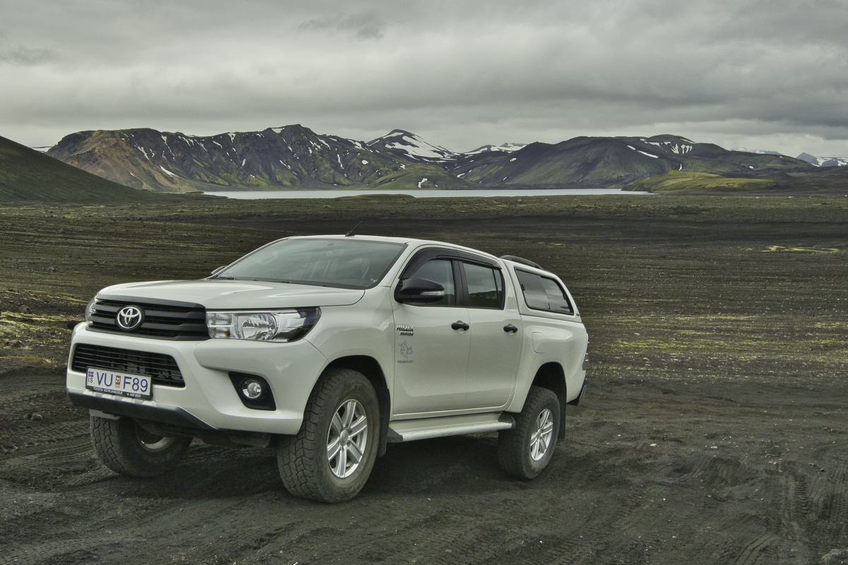 A Toyota Hilux is one of the best vehicles tor rent for travel in the Highland in Iceland
