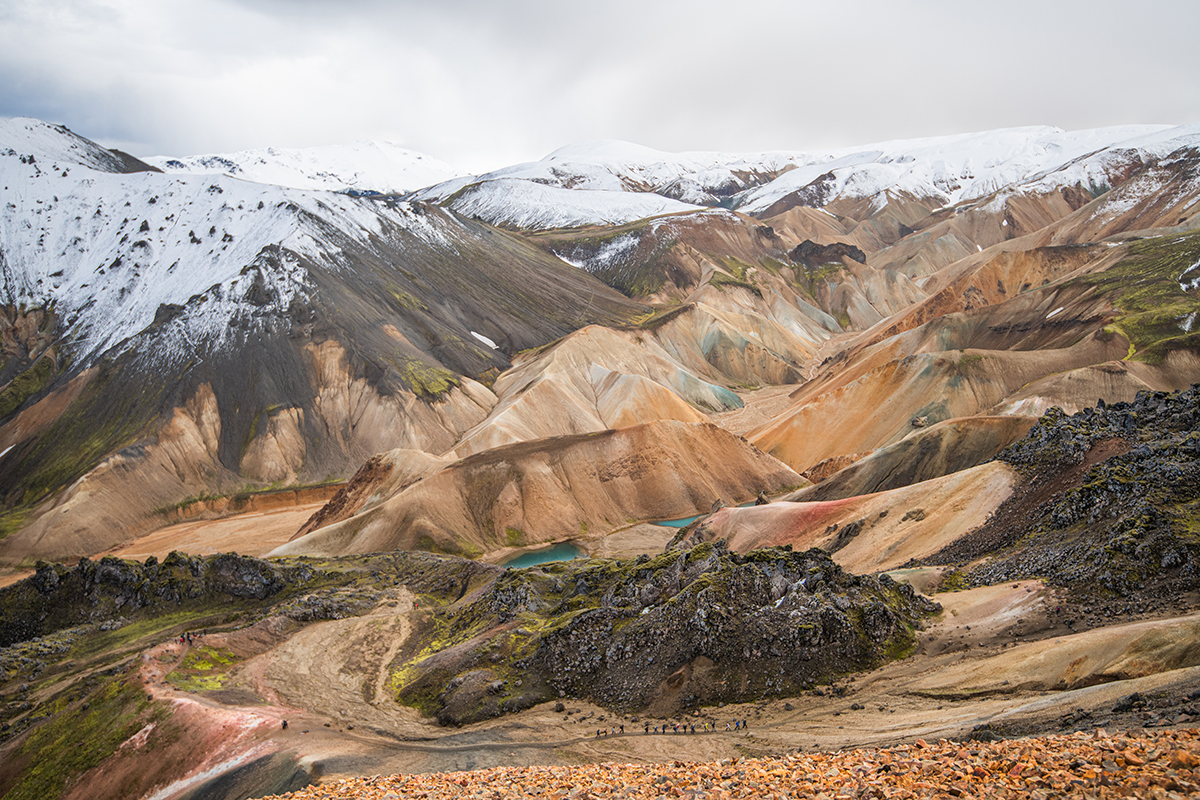 Hiking near Brennisteinsalda volcano in Landmannalaugar