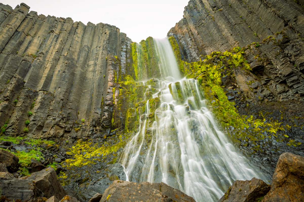Stuðlafoss basalt column stacs waterfall