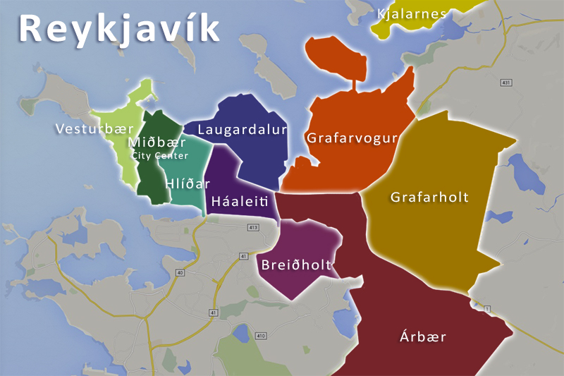 There are ten districts in Reykjavík the capital of Iceland.