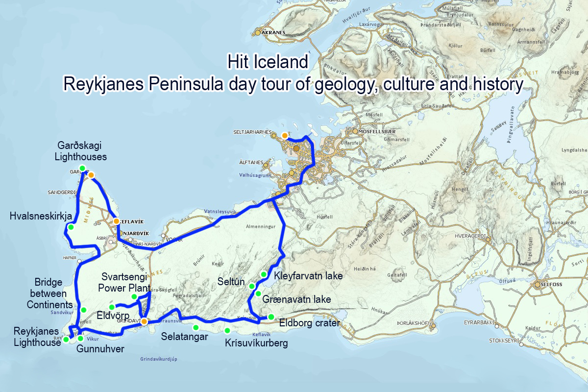 Map of Reykjanes Peninsula day tour of culture geology and history