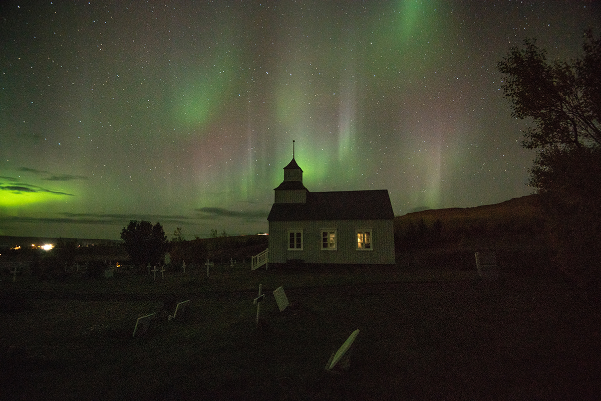Northern Lights at Hvammstangi village in the north