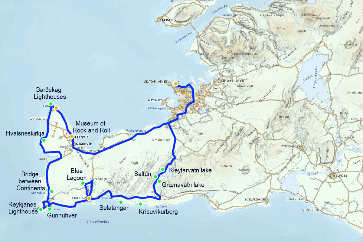 Map of Reykjanes Peninsula Drive