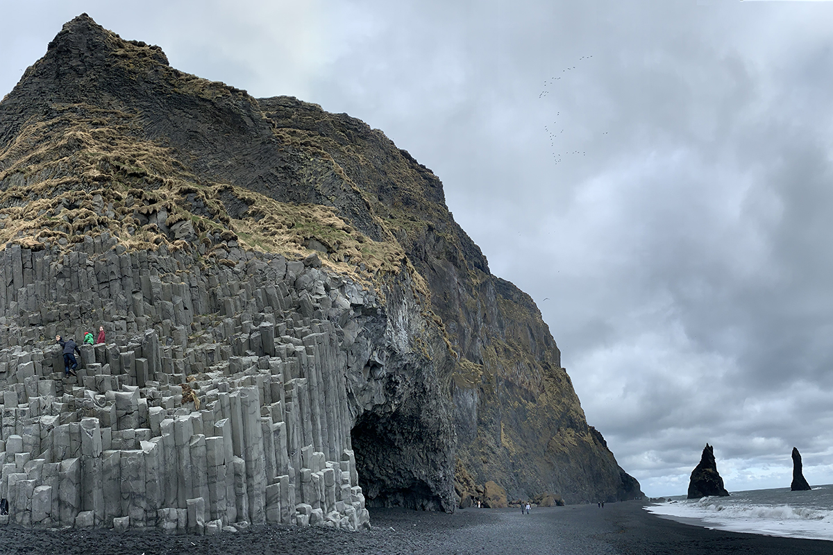 When you enter the beach, you will encounter one of the most spectacular basalt column formations in Iceland