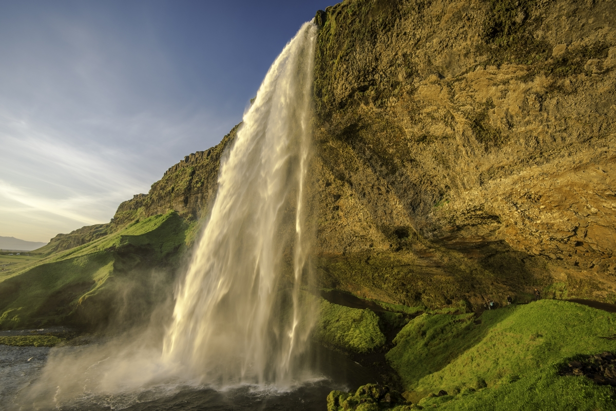 Seljalandsfoss in the Southern Region in Iceland located by the Ring Road