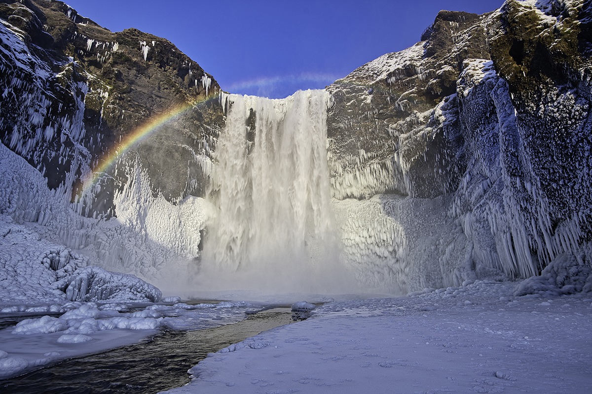 Skógafoss waterfall in winter