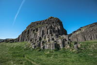 These columnar basalt forms are called Dverghamrar or The Dwarf Cliffs