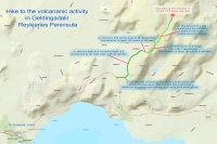 Map of hike to volcanic activity in Reykjanes Peninsula