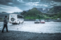 A mistake many visitors make when traveling in the Icelandic Highland is to hire a small car and to drive it into a river and put themselves in danger when they get stuck in the middle of the stream.