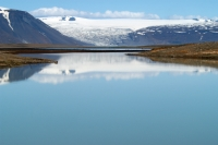 Some lakes in Iceland are placed by the edge of a glacier. Probably around five or six