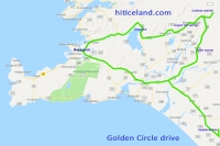 Map of Golden Circle drive in Iceland
