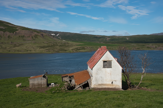 There are many decaying buildings in the countryside in Iceland