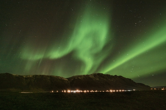 The Northern Lights or the Aurora Borealis appear, on a regular basis, in Iceland from the middle of September through to the end of March.