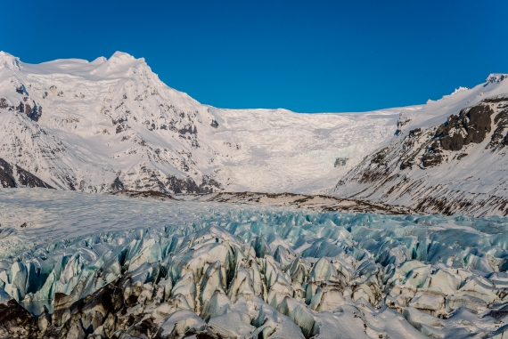 Svínafellsjökull glacier tongue is a accessible place to view the magnificent ice