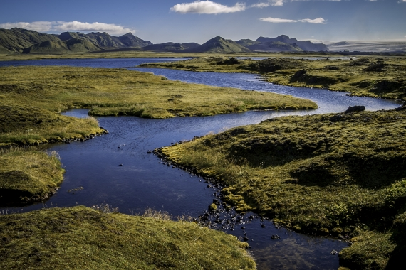"Located northeast of the glacier Mýrdalsjökull by the Highland track Syðri Fjallabak, Brytalækir or ""The Pursers Brook"" is a beautiful spring fed stream."