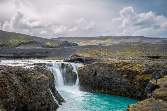 Sigöldufoss waterfall is one of those strange beasts in the Icelandic landscape that has been transformed by an enormous engineering project in the process of building a hydroelectric power plant.