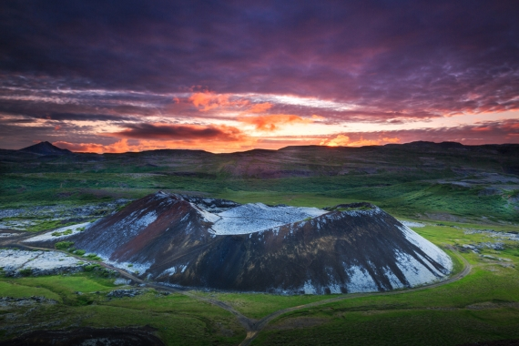 Grábrók is a crater formed by a fissure eruption approximately three thousand years ago.