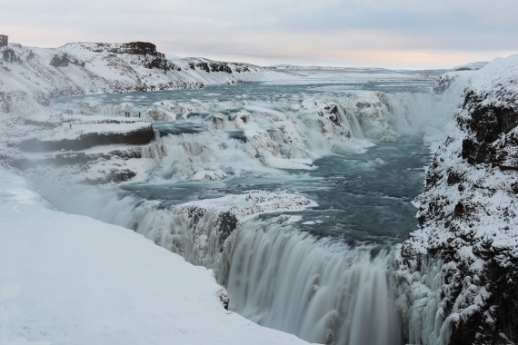Gullfoss (The Golden Waterfall) in the river Hvítá is the best-known landmark in Iceland.