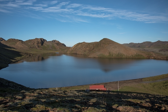 Djúpavatn a beautiful and tranquil lake is located on the Reykjanes Peninsula