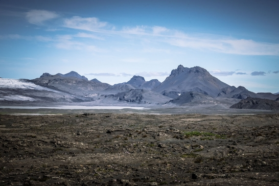 "The mountain ridge Jarlhettur, ""The Earls Cap"" is easily visible from many places and many angles in southern Iceland."