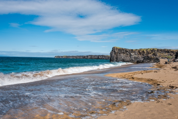 Skarðsvík is a small and rather exceptional beach in the landscape in Iceland.