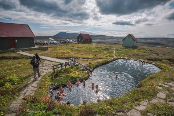 Laugafell and the geothermal pool is located at the northern part of Sprengisandur in Iceland
