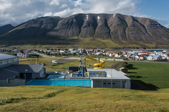 The village of Ólafsfjörður is placed in a small fjord with steep mountains