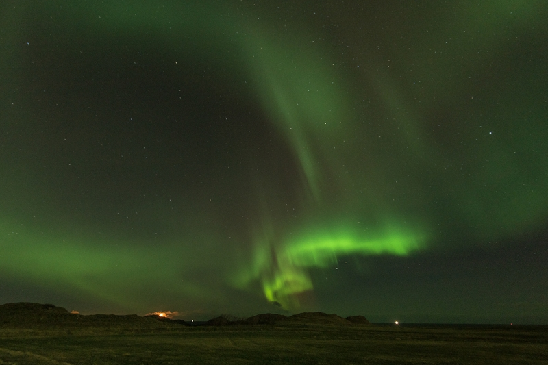 Northern Lights seen from Hvaleyrarvatn