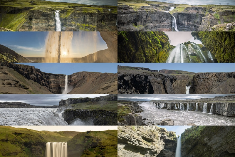 "Five ""two for one waterfall"" in Iceland"