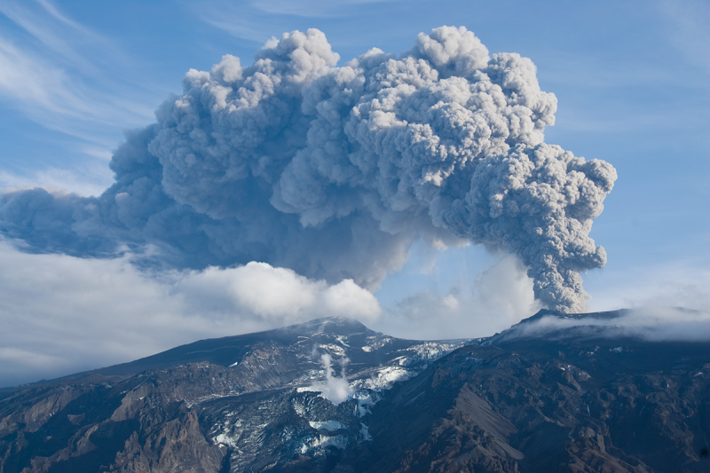 Eyjafjallajokull during eruption