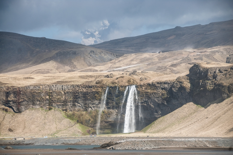 During the Eyjafjallajokull eruption the whole area around the waterfall Seljalandsfoss was covered with ash and looked a bit gloomy.