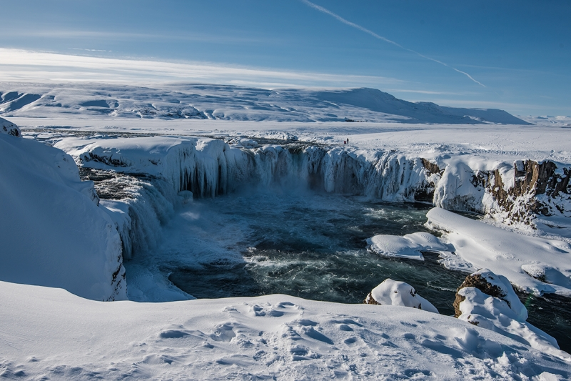 Goðafoss frozen in winter