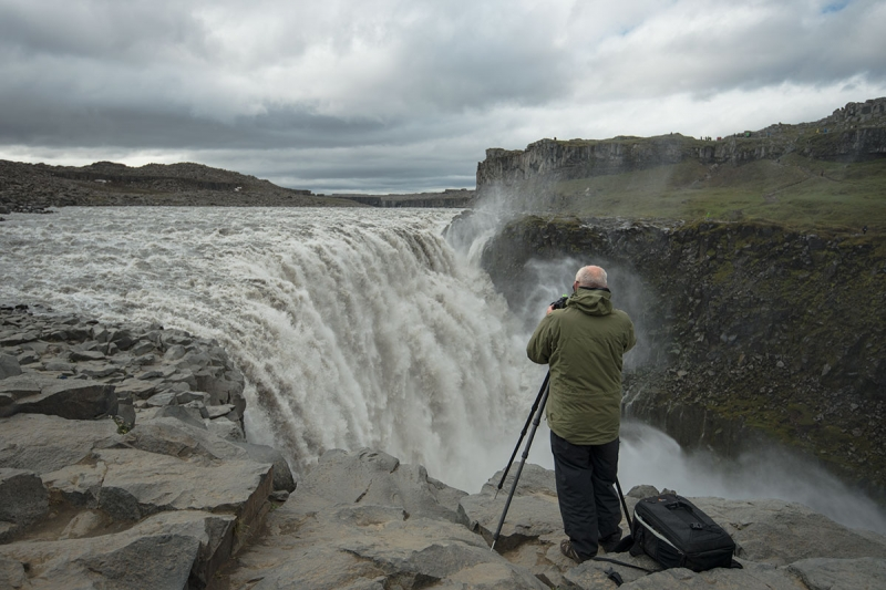 Photographing Dettifoss is a challenge.