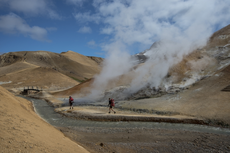 From Ásgarður it is ideal to hike the five kilometers to Hveradalir geothermal area.