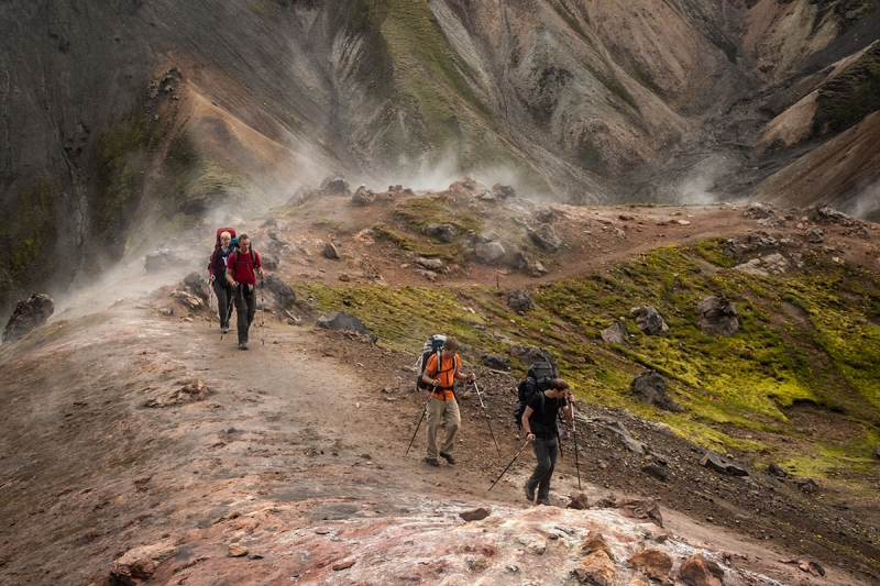 Landmannalaugar has hiking trails by the hot springs