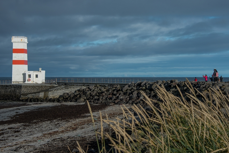 The old lighthouse by the shore at Garður Reykjanes Peninsula