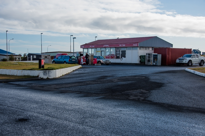 A gas station in Garður village in Iceland