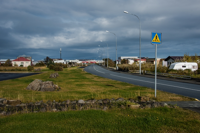 The main street in Garður village