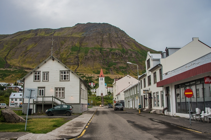 The main street in Siglufjörður is a small town in the Northern Region in Iceland