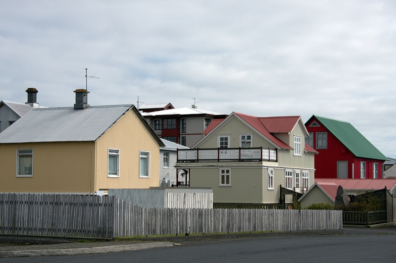 Old houses in the neighborhood near the old harbor in Reykjanesbær