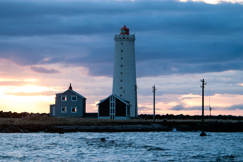 The lighthouse at Grótta in Seltjarnarnes is a major attraction for visitors and Icelanders