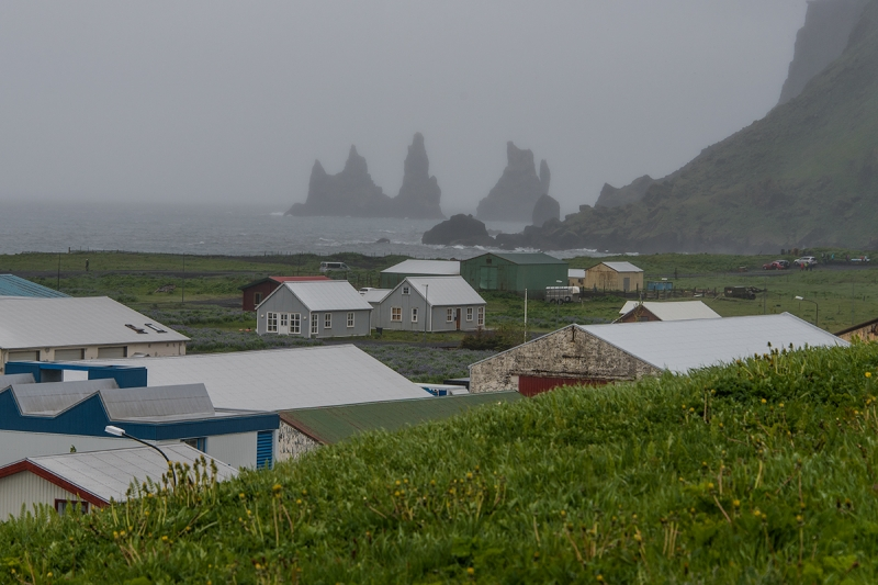 Reynisdrangar seen from Vík is a popular landmark and photo item
