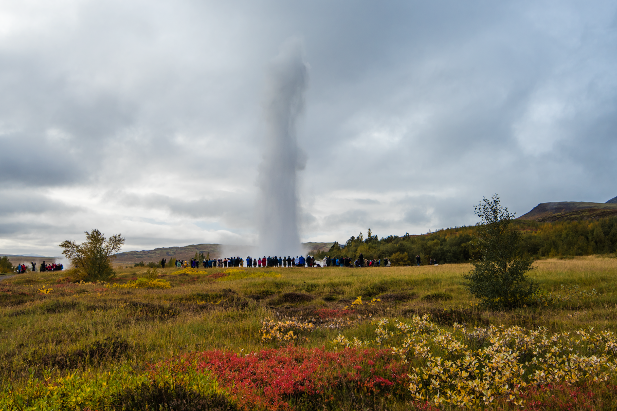 Overcrowded Geysir area in Iceland