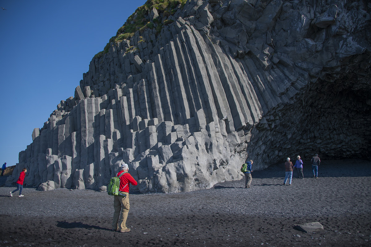 Reynisfjara black beach and basalt column formation