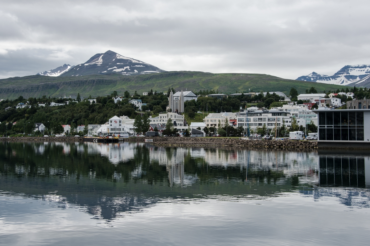 Akureyri in northern region of Iceland